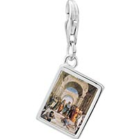 Link Charm Bracelet - 925  sterling silver raphael' s school of athens photo rectangle frame link charm Image.