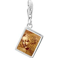 Link Charm Bracelet - 925  sterling silver da vinci picture photo rectangle frame link charm Image.
