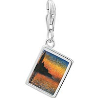 Link Charm Bracelet - 925  sterling silver monet' s san giorgio maggiore photo rectangle frame link charm Image.