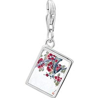Link Charm Bracelet - 925  sterling silver apricot blossoms art photo rectangle frame link charm Image.