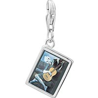 Link Charm Bracelet - 925  sterling silver picasso' s the old guitarist photo rectangle frame link charm Image.