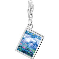 Link Charm Bracelet - 925  sterling silver monet' s nympheas water liliesphoto rectangle frame link charm Image.