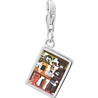 Link Charm Bracelet - 925  sterling silver picasso' s three musicians photo rectangle frame link charm Image.