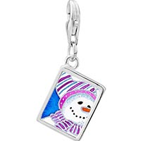 Link Charm Bracelet - 925  sterling silver striped hat snowman photo rectangle frame link charm Image.