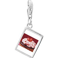 Link Charm Bracelet - 925  sterling silver chocolate cupcake love photo rectangle frame link charm Image.