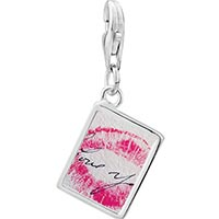 Link Charm Bracelet - 925  sterling silver i love you kiss photo rectangle frame link charm Image.
