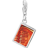Link Charm Bracelet - 925  sterling silver french horn photo rectangle frame link charm Image.