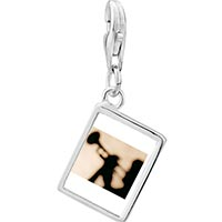 Link Charm Bracelet - 925  sterling silver trumpet music silhouette photo rectangle frame link charm Image.