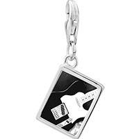 Link Charm Bracelet - 925  sterling silver black electric guitar photo rectangle frame link charm Image.