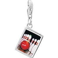 Link Charm Bracelet - 925  sterling silver bowling pins photo rectangle frame link charm Image.
