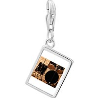 Link Charm Bracelet - 925  sterling silver rock and roll drums photo rectangle frame link charm Image.