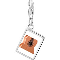 Link Charm Bracelet - 925  sterling silver classic guitar photo rectangle frame link charm Image.