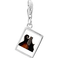 Link Charm Bracelet - 925  sterling silver hollow body electric guitar photo rectangle frame link charm Image.
