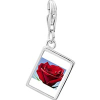 Link Charm Bracelet - 925  sterling silver red rose in sunshine photo rectangle frame link charm Image.