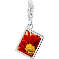 Link Charm Bracelet - 925  sterling silver orange daisy photo rectangle frame link charm Image.