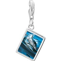 Link Charm Bracelet - 925  sterling silver dolphin swimming photo rectangle frame link charm Image.