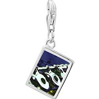 Link Charm Bracelet - 925  sterling silver flute music photo rectangle frame link charm Image.