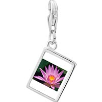 Link Charm Bracelet - 925  sterling silver yellow and pink flower photo rectangle frame link charm Image.