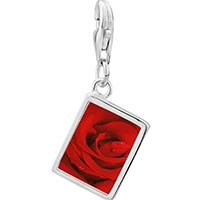 Link Charm Bracelet - 925  sterling silver dew drop rose photo rectangle frame link charm Image.
