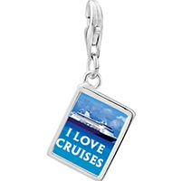 Link Charm Bracelet - 925  sterling silver i love cruises photo rectangle frame link charm Image.