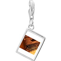 Link Charm Bracelet - 925  sterling silver book writer' s typewriter photo rectangle frame link charm Image.