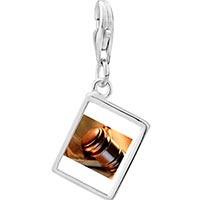 Link Charm Bracelet - 925  sterling silver the law photo rectangle frame link charm Image.