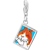 Link Charm Bracelet - 925  sterling silver smiling bunny rabbit photo rectangle frame link charm Image.