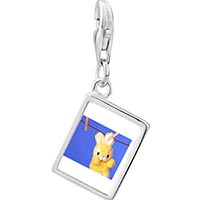 Link Charm Bracelet - 925  sterling silver clothesline bunny rabbit photo rectangle frame link charm Image.