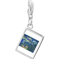 Link Charm Bracelet - 925  sterling silver monet water lilies photo rectangle frame link charm Image.