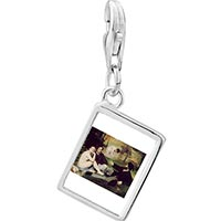 Link Charm Bracelet - 925  sterling silver manet luncheon on grass art photo rectangle frame link charm Image.