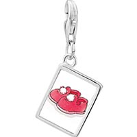 Link Charm Bracelet - 925  sterling silver fuzzy red slippers photo rectangle frame link charm Image.