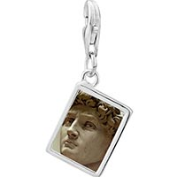 Link Charm Bracelet - 925  sterling silver michelangelo david head photo rectangle frame link charm Image.