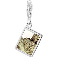 Link Charm Bracelet - 925  sterling silver michelangelo la pieta art photo rectangle frame link charm Image.