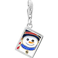 Link Charm Bracelet - 925  sterling silver snowman and candy cane photo rectangle frame link charm Image.