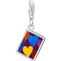 Link Charm Bracelet - 925  sterling silver six hearts photo rectangle frame link charm Image.