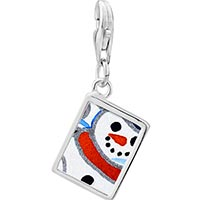 Link Charm Bracelet - 925  sterling silver sunset snowman photo rectangle frame link charm Image.