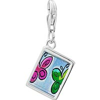 Link Charm Bracelet - 925  sterling silver butterfly times two photo rectangle frame link charm Image.