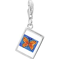 Link Charm Bracelet - 925  sterling silver orange butterfly photo rectangle frame link charm Image.