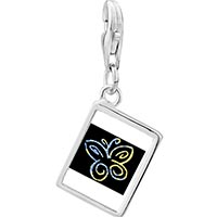 Link Charm Bracelet - 925  sterling silver butterfly outline photo rectangle frame link charm Image.