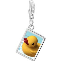 Link Charm Bracelet - 925  sterling silver swimming rubber duckyphoto rectangle frame link charm Image.