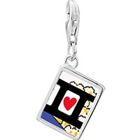 Link Charm Bracelet - 925  sterling silver i heart popcorn photo rectangle frame link charm Image.