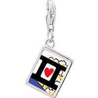 Link Charm Bracelet - 925  sterling silver i heart popcorn photo rectangle frame link charm Image.