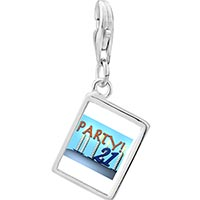 Link Charm Bracelet - 925  sterling silver birthday party 21  photo rectangle frame link charm Image.