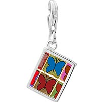 Link Charm Bracelet - 925  sterling silver colorful butterfly print photo rectangle frame link charm Image.