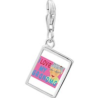 Link Charm Bracelet - 925  sterling silver i love my grandma photo rectangle frame link charm Image.