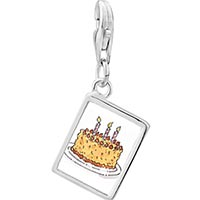 Link Charm Bracelet - 925  sterling silver three candles birthday cake photo rectangle frame link charm Image.