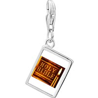 Link Charm Bracelet - 925  sterling silver leather bound holy bible photo rectangle frame link charm Image.