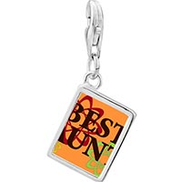 Link Charm Bracelet - 925  sterling silver best aunt photo rectangle frame link charm Image.
