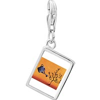 Link Charm Bracelet - 925  sterling silver water a tree photo rectangle frame link charm Image.