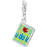 Link Charm Bracelet - 925  sterling silver i heart sudoku photo rectangle frame link charm Image.